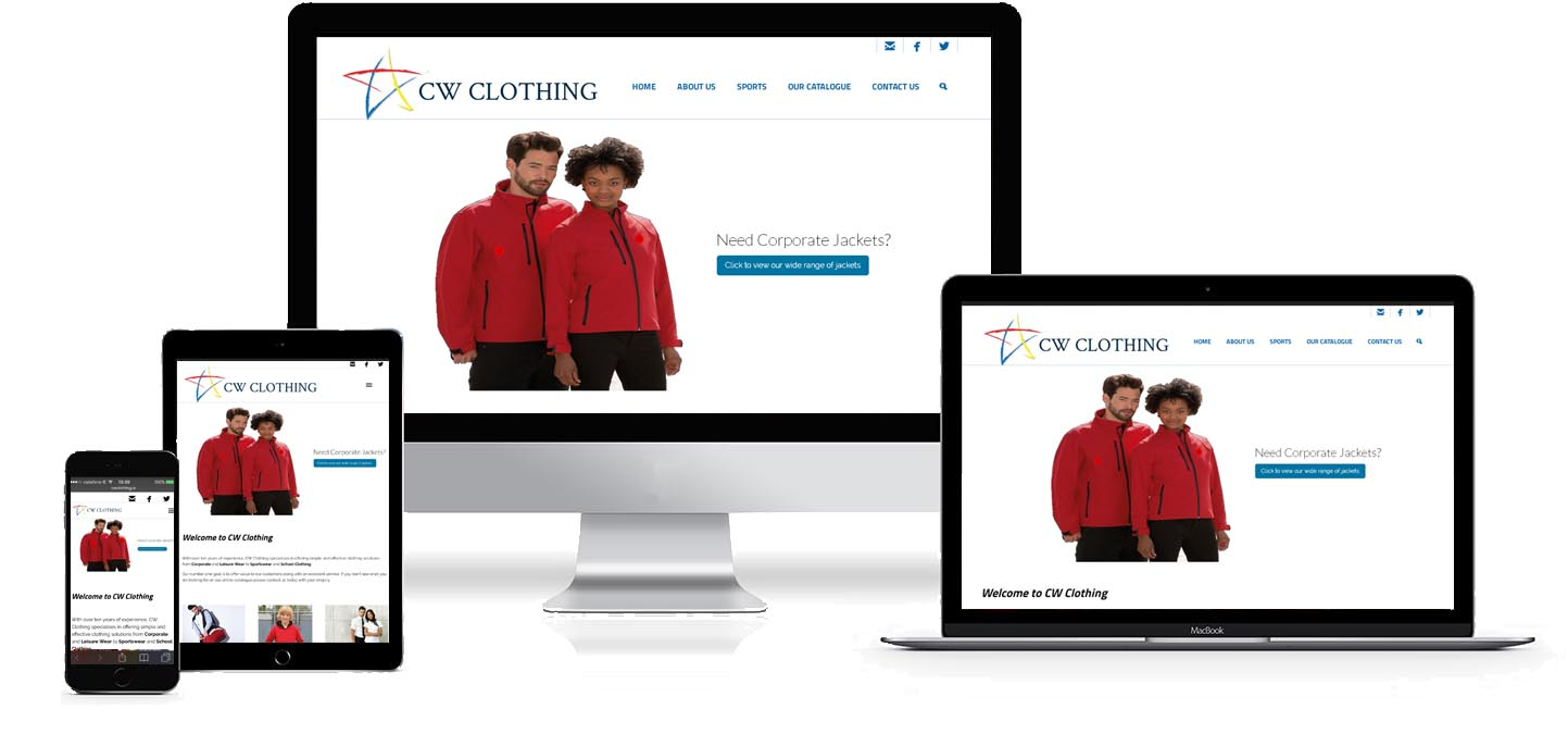 Image and link to CW Clothing Web Site Development