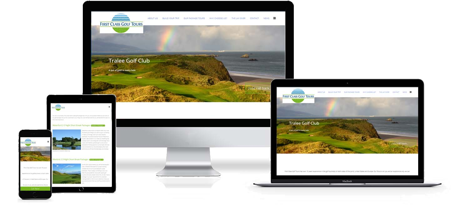first class golf tours website design project image