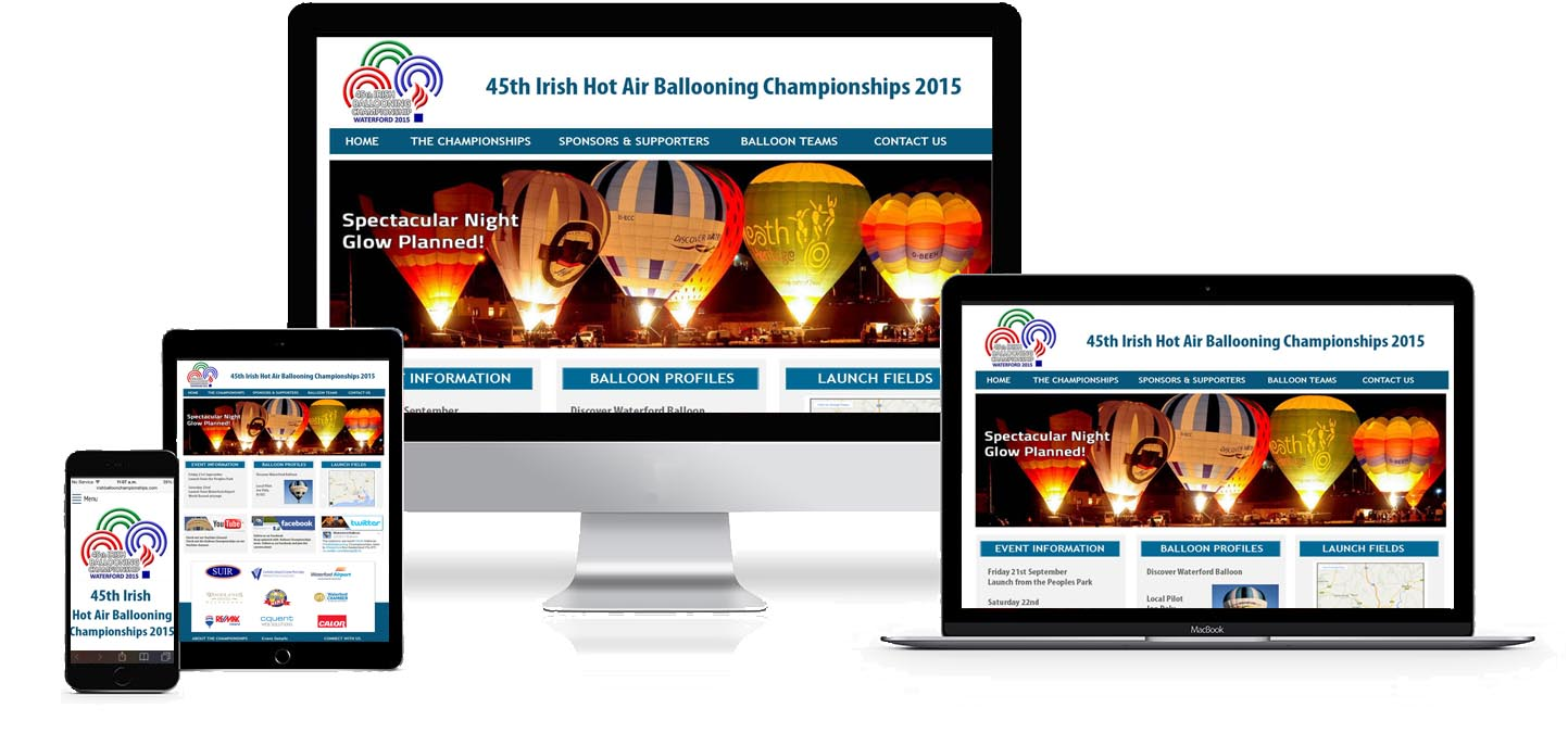 Image and link to Irish National Hot Air Balloon Championships Web Site Development