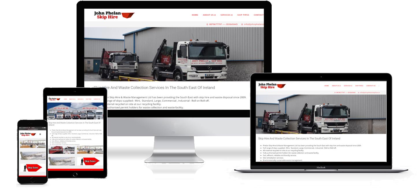 john phelan skip hire website design project image