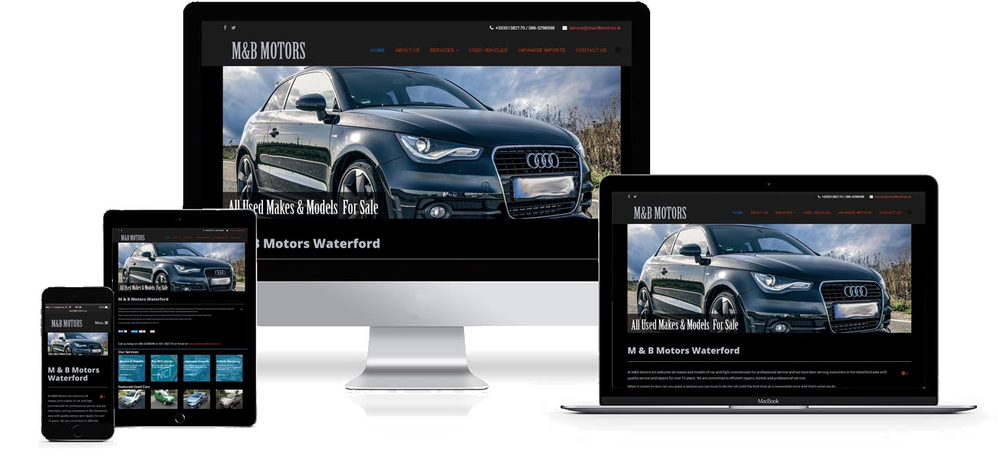 M&B motors website design project image